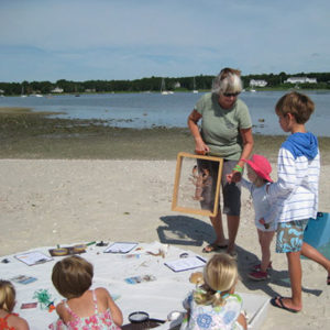 kids learning about beach