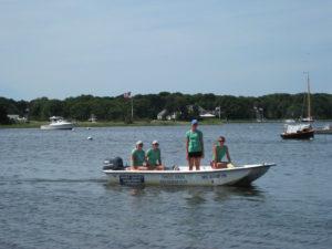 Three Bays Preservation Volunteers in Boston Whaler