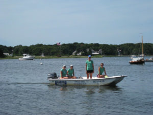Three Bays Preservation Volunteers in Boston Whaler